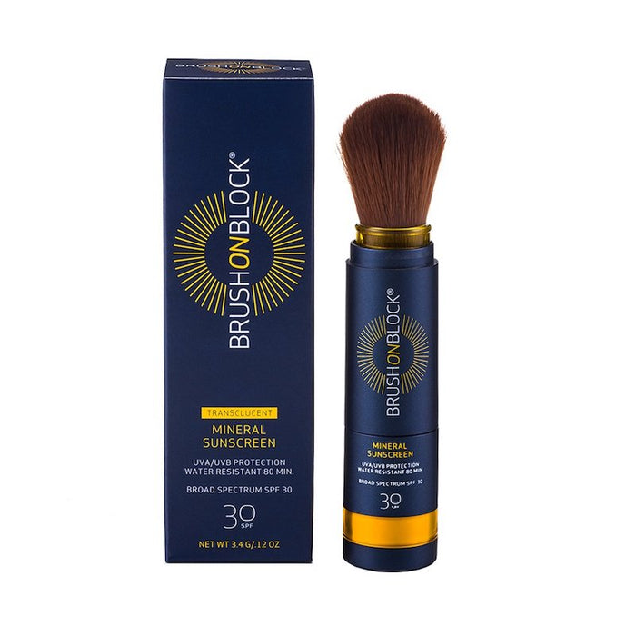 Clean Beauty Translucent Brush On Block Mineral Based SPF Zinc Sunscreen