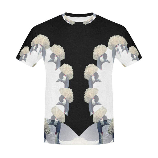 Crowned Crane / Full Print T-shirt, Crew Neck Fully Printed Tee - Viaggi By Jase King