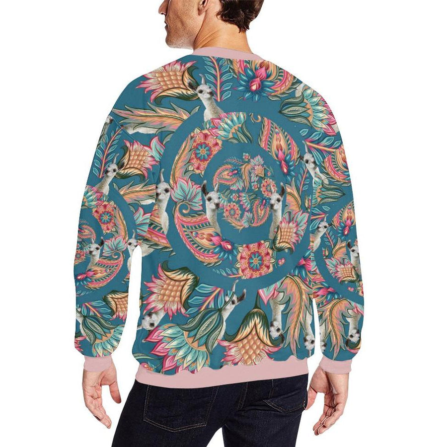 Panorama Llama ( Teal ) Fleece Sweater, Fleece Crewneck Sweaters - Viaggi By Jase King