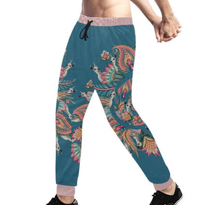 Panorama Llama ( Teal & Burnt Orange ) Sweatpants, Sweatpants - Viaggi By Jase King