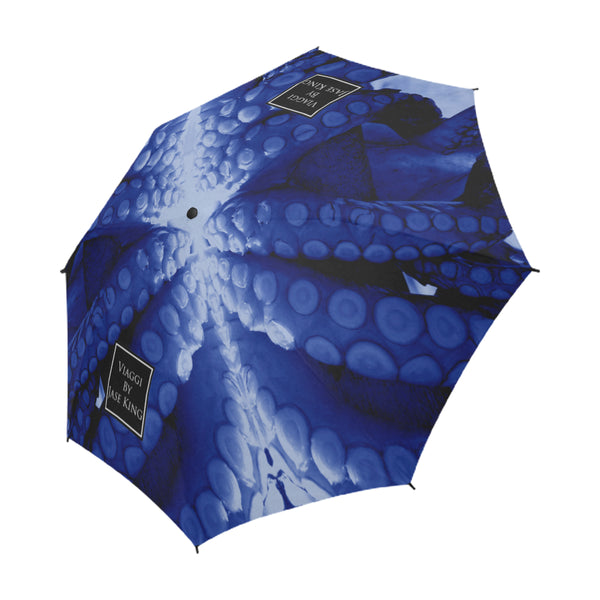 Blue Octopus Umbrella, Semi-Automatic Foldable Umbrella - Viaggi By Jase King