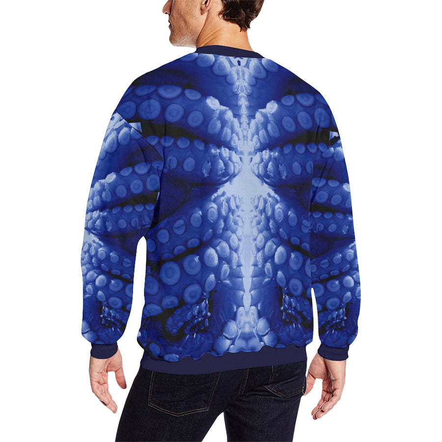 Blue Octopus ( Mantle ) Fleece Sweater, Fleece Crewneck Sweaters - Viaggi By Jase King