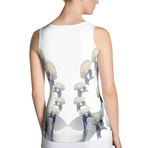 Crowned Crane / Daru Fitted Tank Top, Fitted Tank Tops - Viaggi By Jase King