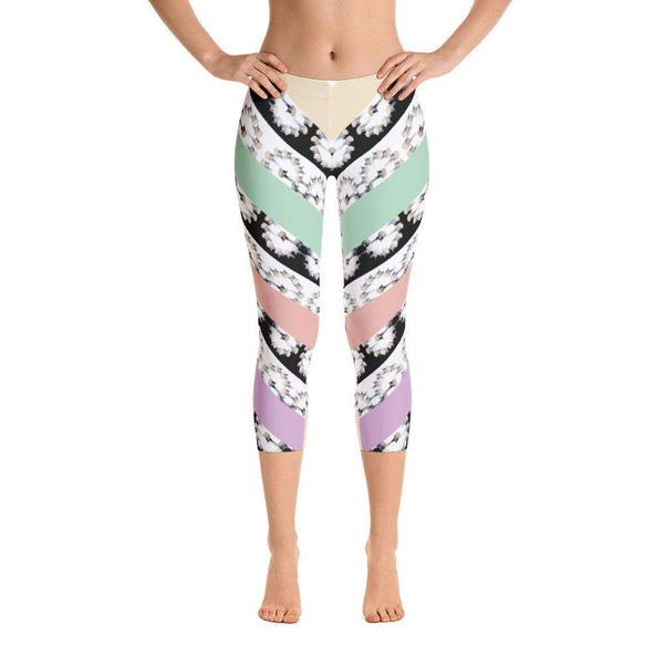 Crowned Crane / Kranas Capri Leggings, Capri Leggings - Viaggi By Jase King