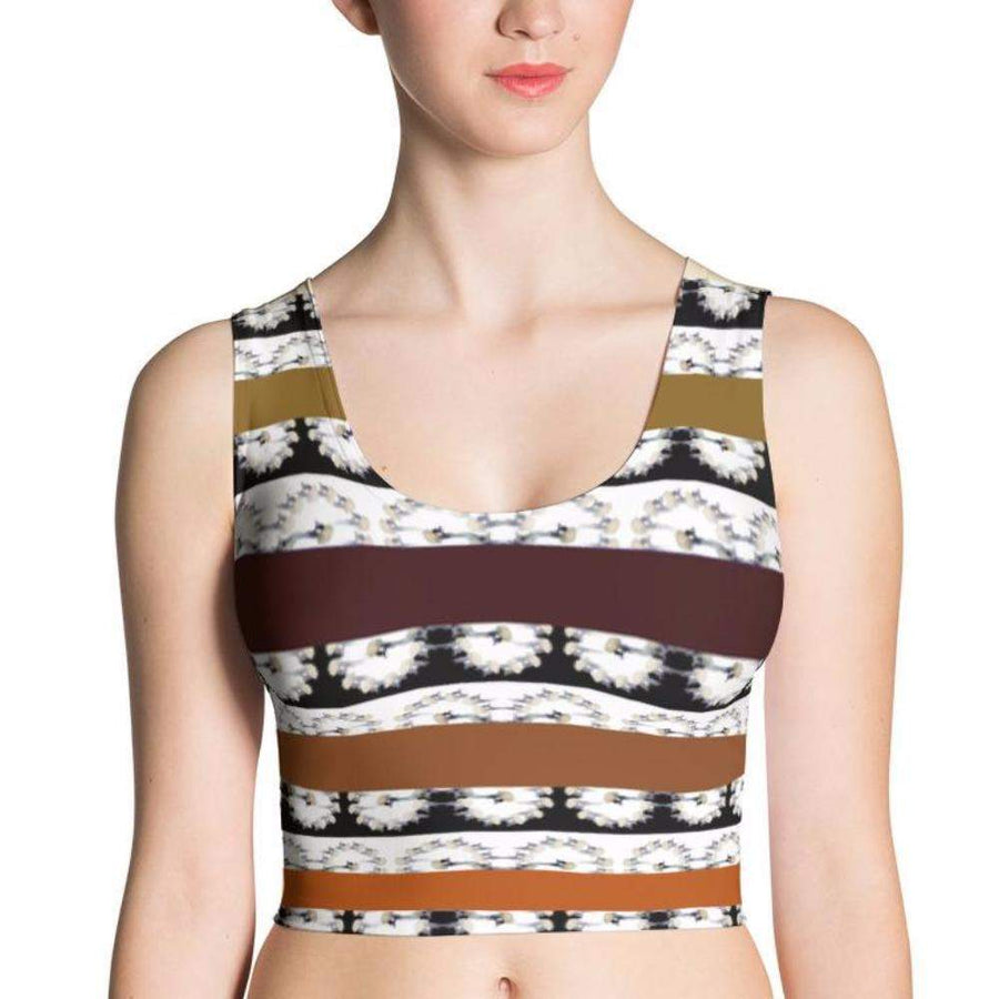 Crowned Crane / Kurēn Fitted Crop Top, Sublimation Crop Top - Viaggi By Jase King