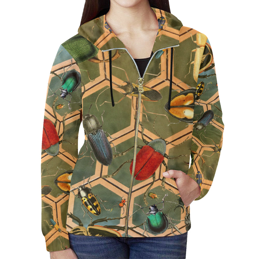 Bug Me Boo ( Green Tiled ) Zip Hoodie, Zip Hoodie - Viaggi By Jase King