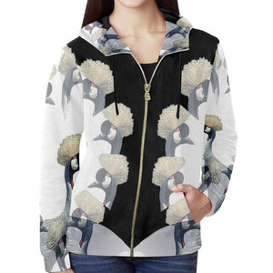 Crowned Crane ( Daru ) Zip Hoodie, Zip Hoodie - Viaggi By Jase King