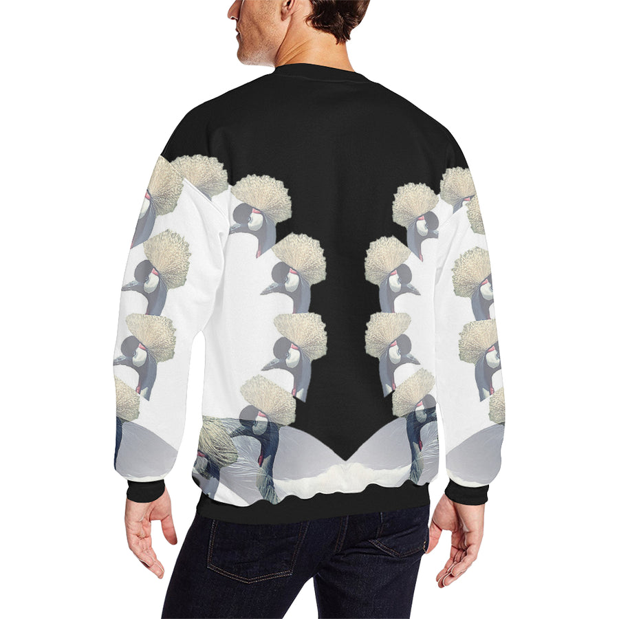 Crowned Crane ( Daru ) Fleece Sweater, Fleece Crewneck Sweaters - Viaggi By Jase King
