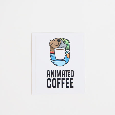 Animated Coffee Logo Sticker Sticker - Animated Coffee