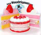 SQUISHY FUN Jumbo Vanilla Frosted Strawberry Cake Slice Squishy Side View
