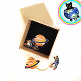Planet and Astronaut Enamel Fashion Pins