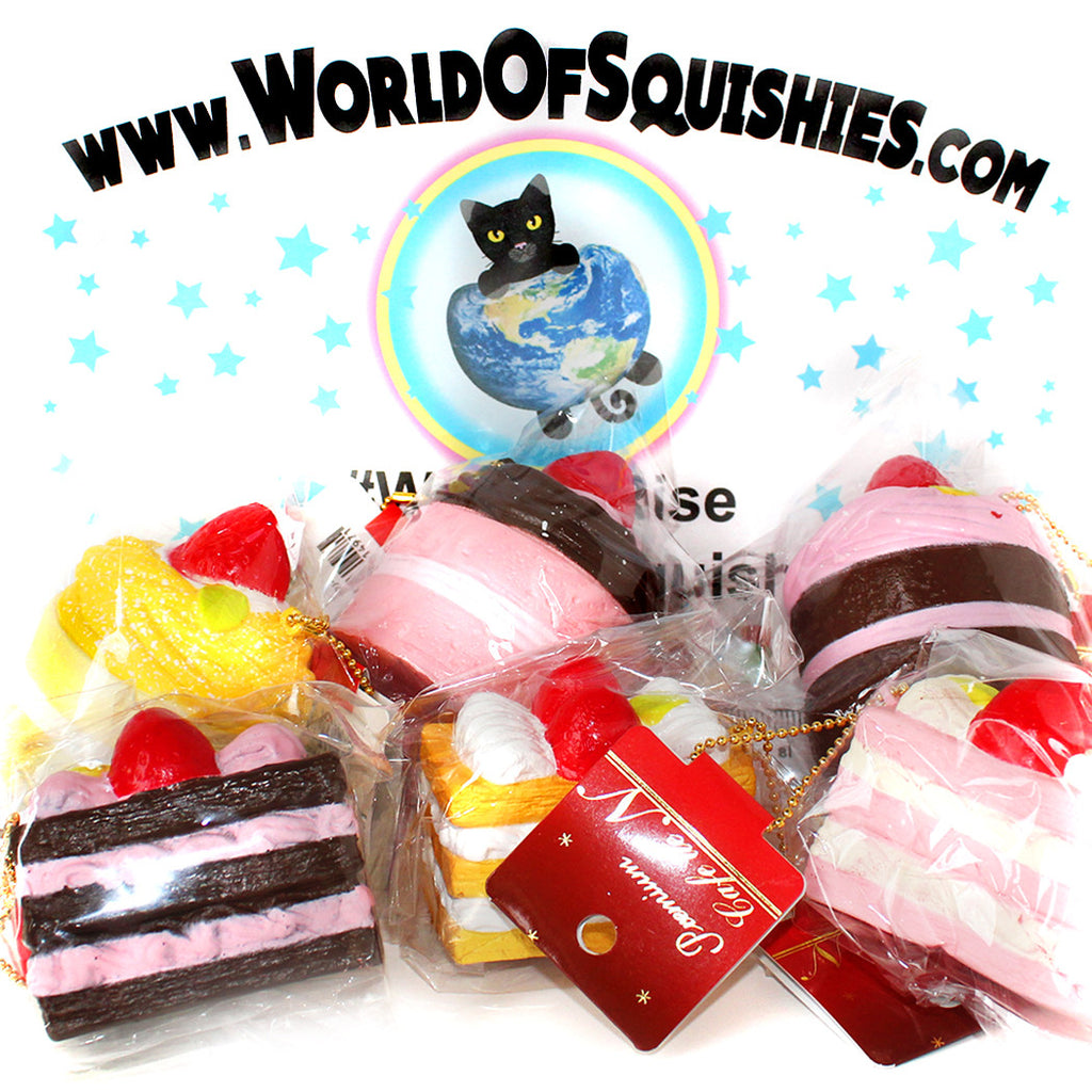 Cafe De N Premium Bite-Sized Cake Squishies shown in a variety of styles at World Of Squishies