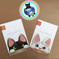 cat ear sticky note bookmarks shown in black and white