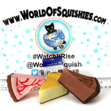 Cafe De N Cheesecake Slices Top Side and front view at World Of Squishies