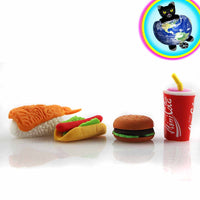 Fast Food mini eraser set