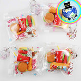 Fast Food Erasers shown in pouch