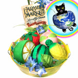 Summer Fruit Basket gift set of squishies top view