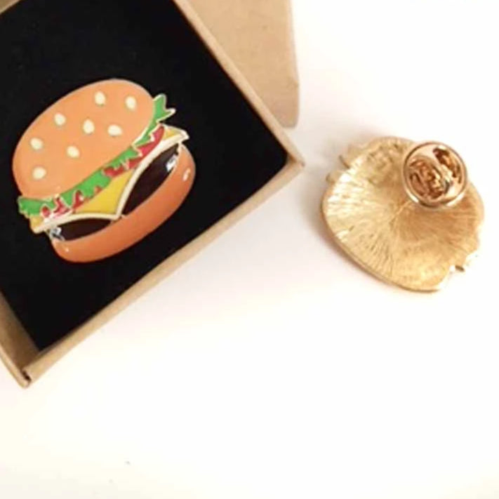 Hamburger Enamel Fashion Pin shown in box