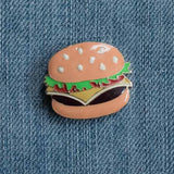 Hamburger Enamel Fashion Pin shown on Denim