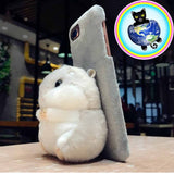 Hamster Plushy Animal Cell Phone Case being used as a stand