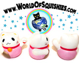Jumbo Lucky Cat Squishy shown front side and back at World of Squishies