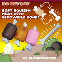 Cutie Creative Meaty Bone Squishies (2-Part Removable Design)