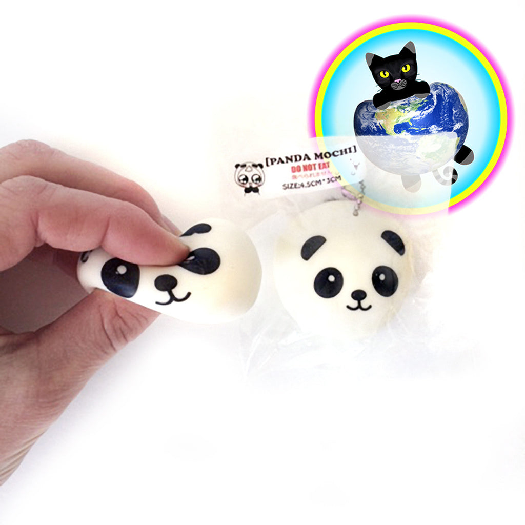 Panda Bun Stretchy Mochi Charm being squeezed