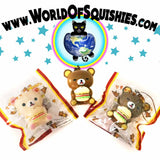 Kawaii Rilakkuma with Hamburger Squishy Charms shown in and out of bag