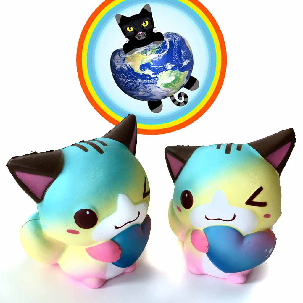Taburasaa rainbow galaxy heart cat squishies