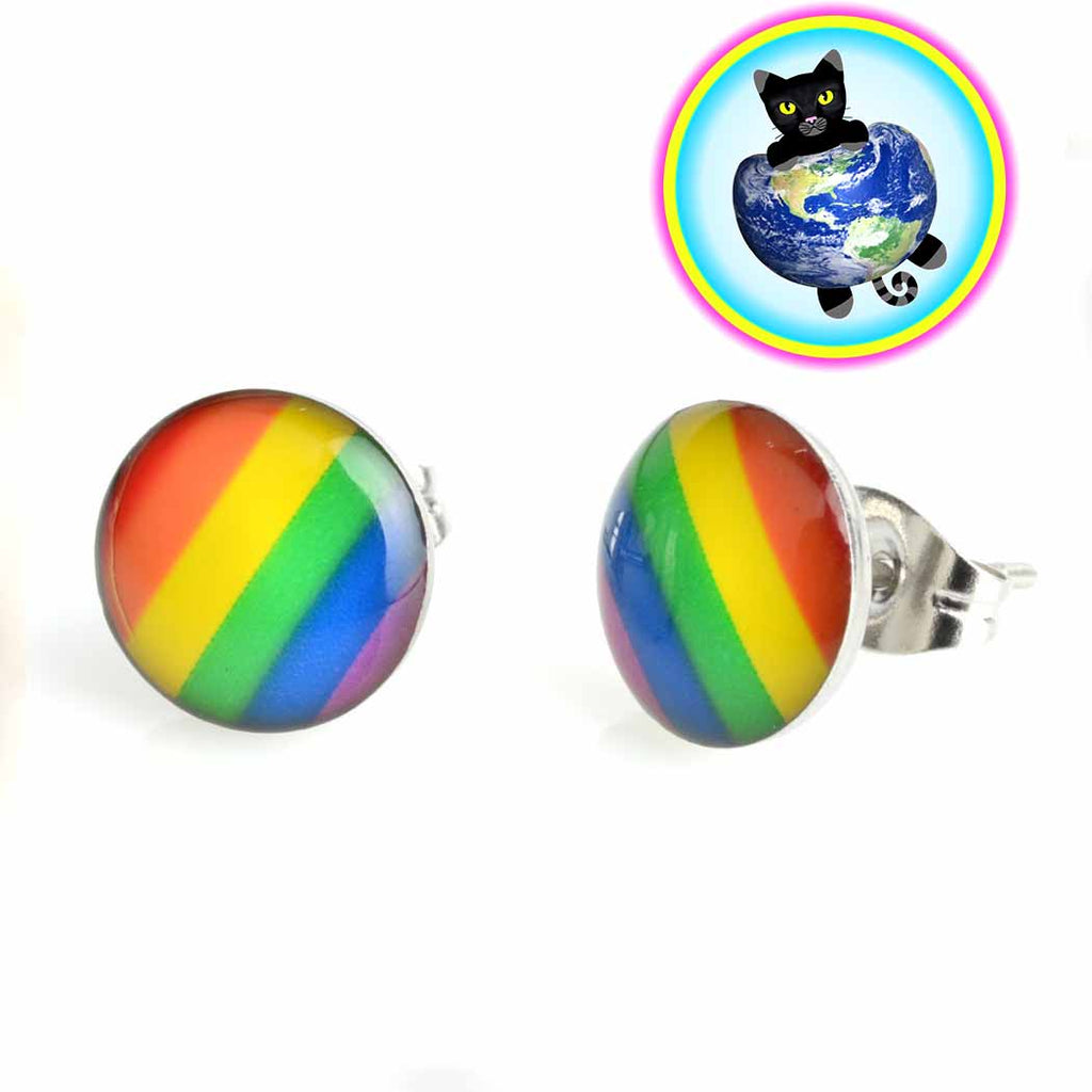 Rainbow Metal Stud Earrings