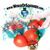 Summer Strawberries Squishy Basket Shown wrapped and unwrapped