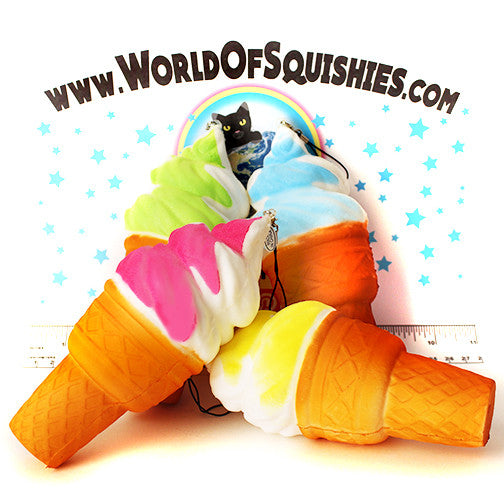 Swirled Ice Cream Cone Squishy in all four colors at World Of Squishies