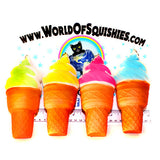 Swirled Ice Cream Cones in all four colors side view at World Of Squishies