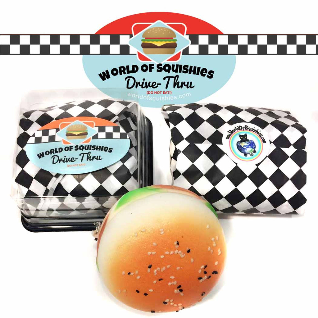 World of Squishies Drive-Thru Hamburger shown in and out of packaging