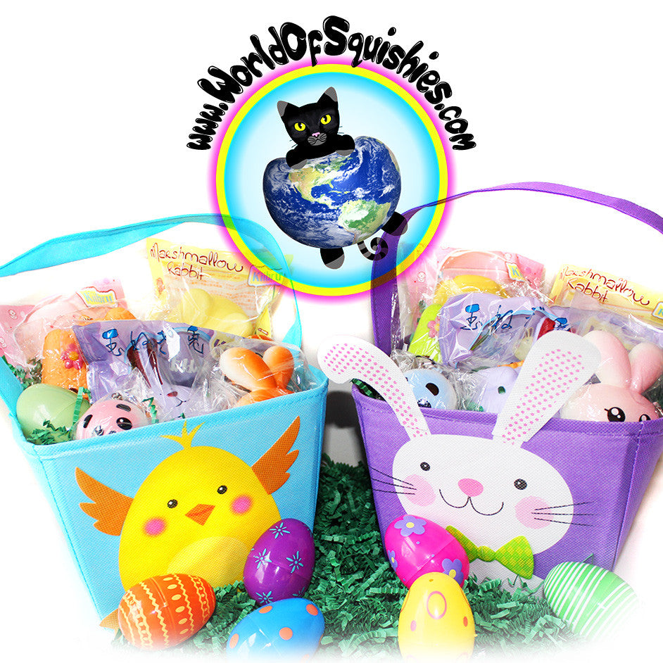 Loaded easter gift basket squishies and more easter basket gift set with spring themed squishies and more shown in both styles negle Images
