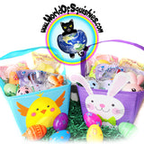 Easter Basket Gift Set with Spring Themed Squishies and more shown in both styles
