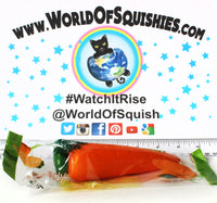 Areedy Carrot Squishy in wrapper from world of squishies