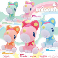 iBloom Unicorn Squishies shown in all colors and styles