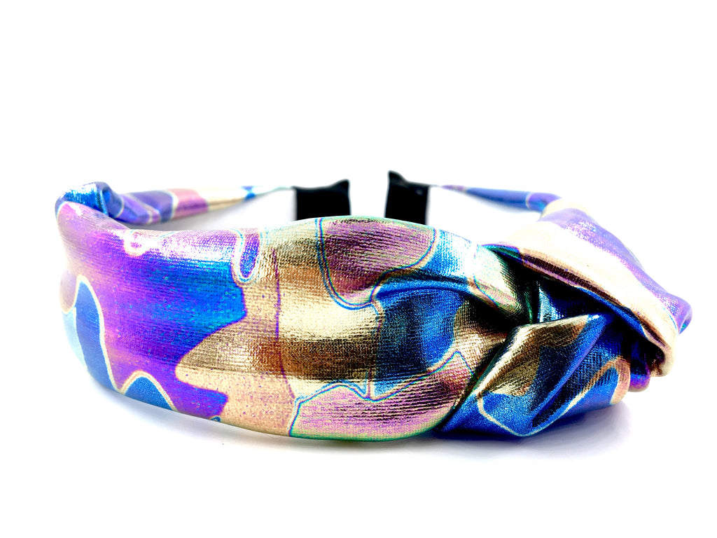Knotted Holographic Headbands shown in Galactic color