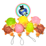 kawaii tortoise bread squishy charms shown in colors