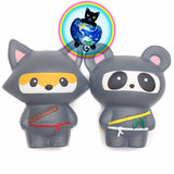 Ninja Squishies shown with fox and panda styles
