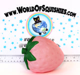 Jumbo SUPER Slow Rising Pink Strawberry Squishy Side View