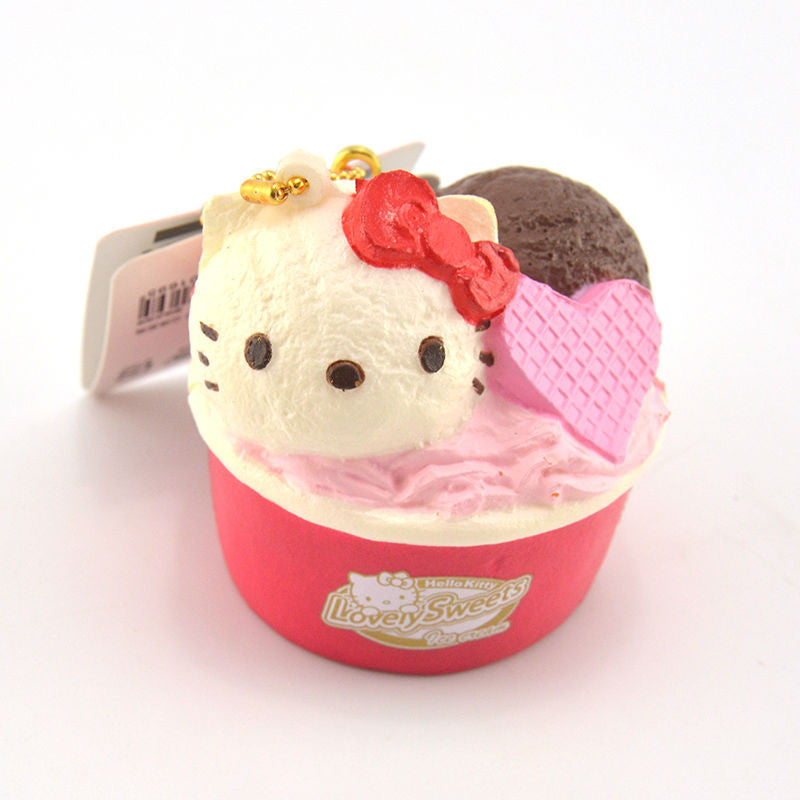 Sanrio Hello Kitty Lovely Sweets Ice Cream Cup Squishy Key Chain Charm Front View