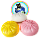 Squishy Fun Jumbo Steamed Bun Squishies shown in white yellow and pink