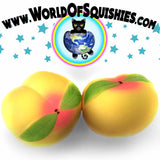 Colossal Peach Squishy in Yellow shown side and front view