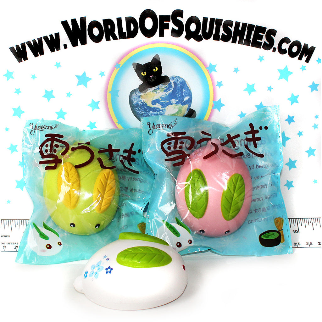 Yumeno Snow Bunny Squishies in pink green and white at World Of Squishies