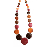 Wooden bead Necklace + Earrings, handmade jewelry SET in natural exotic wood beads - Congo Costa Rica