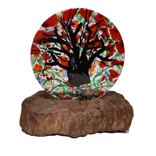 Vitrofusion Glass Tree Sculpture on Wooden Base - Congo Costa Rica