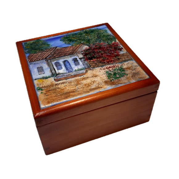 Vitrofusion Glass top on Wooden Tea Box - Small - Congo Costa Rica