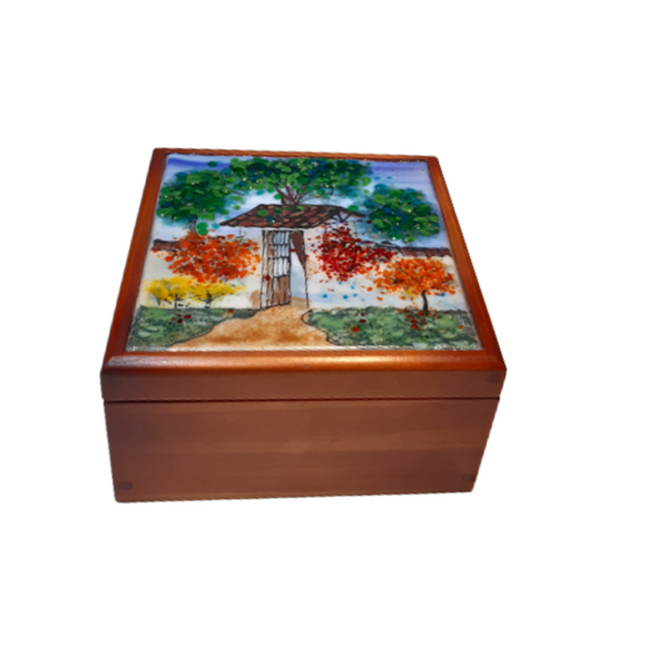 Vitrofusion Glass top on Wooden Tea Box - Small